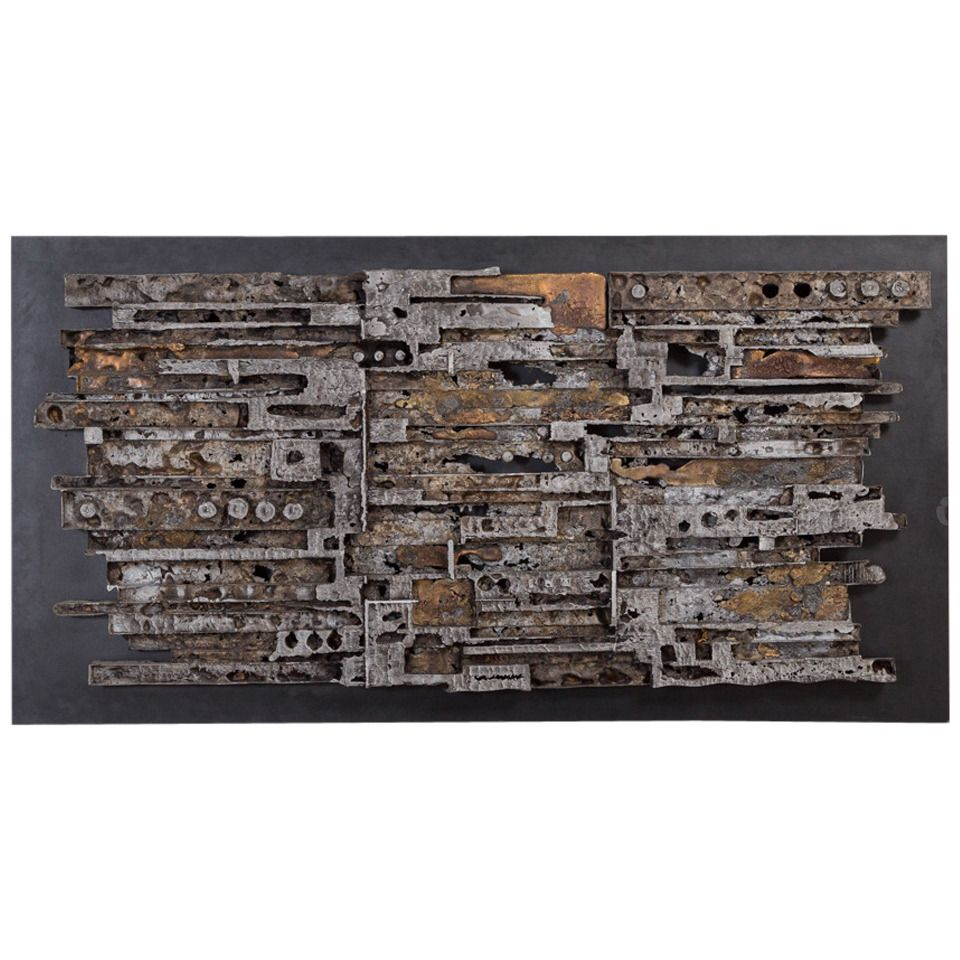 Silvered Cast Metal Brutalist Sculptural Wall Panel ...
