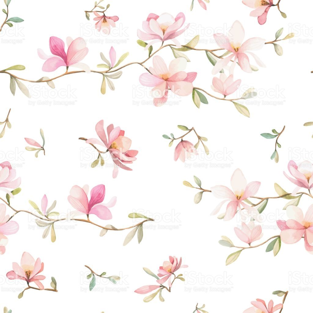 Watercolor Flowers Seamless Pattern Pink Flowers And Leafs