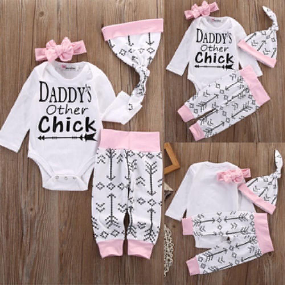 4Pcs Baby Girls Arrow Letters Print Long Sleeve Cotton Romper Pants Hat Headband - Silver / 100