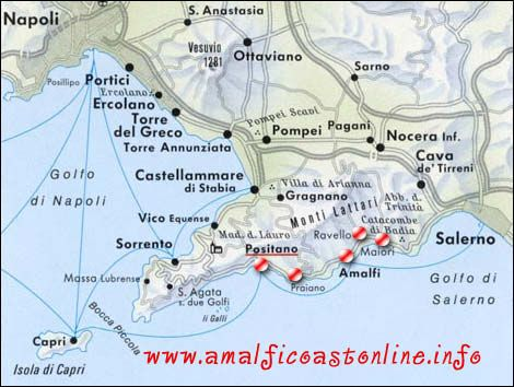 Map Of Amalfi Coast In 2019 Amalfi Coast Amalfi Italy