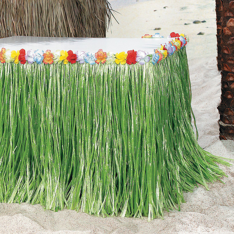 Tropical Flowered Table Skirt Luau Decorations Tiki