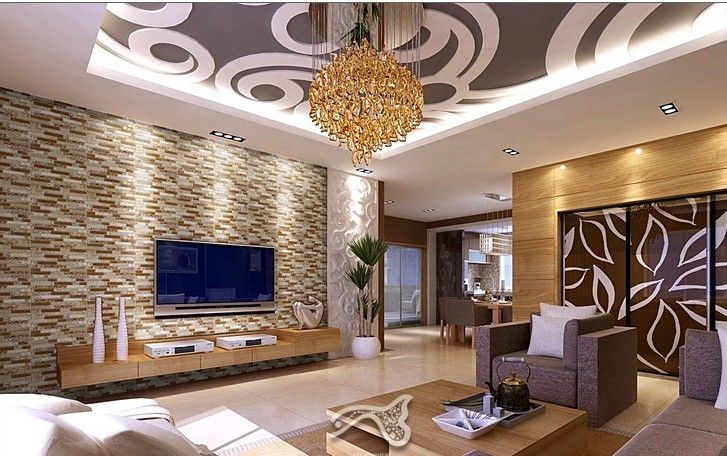 Wallpaper Ideas For Living Room Feature Wall Charcoal And Brown Tiles Modern