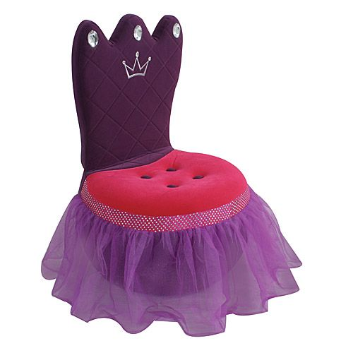 LumiSource Plush Pink And Purple Princess Crown Chair With Faux Jewels