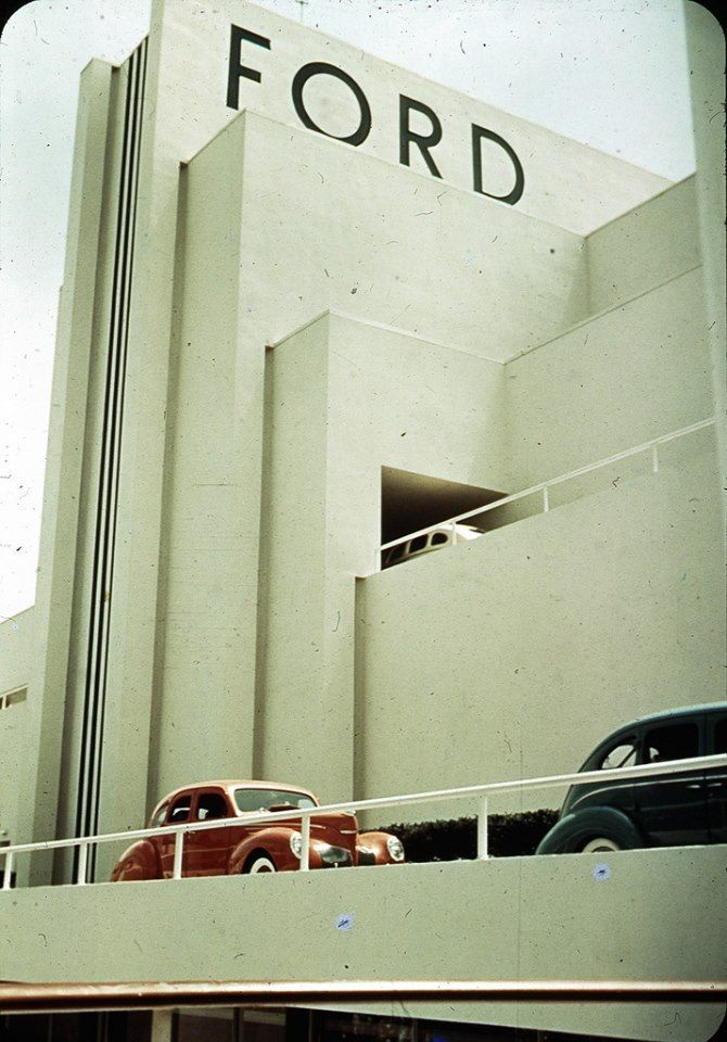 Ford Building, 1939 NY Weltausstellung -  Ford Gebäude. 35mm Farbdia der New Yorker Weltausstellun