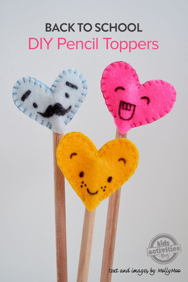 Back To School: Felt Heart Pencil Toppers | MollyMooCrafts.com for #kidsactivitiesblog