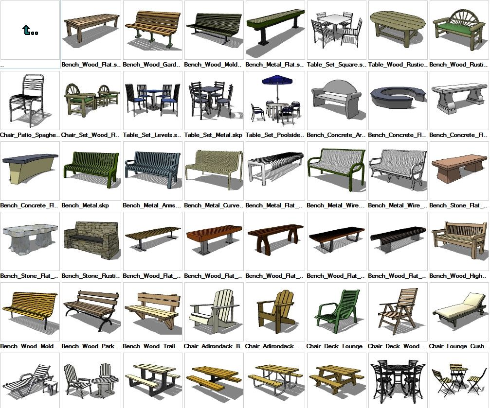 Sketchup Furniture Exterior 3D models download CAD Design Free