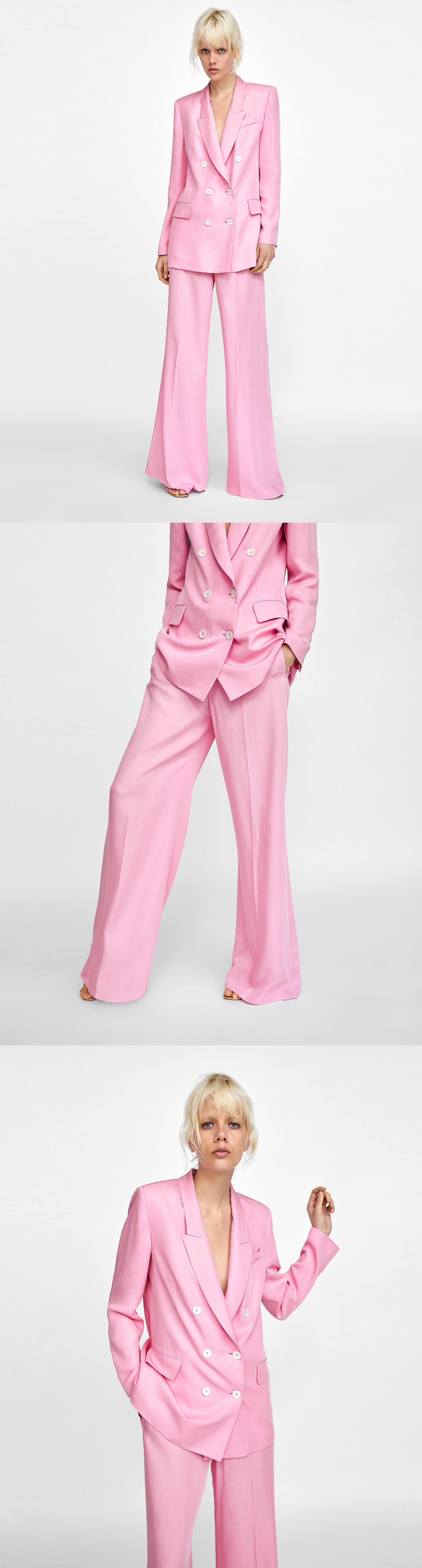 f978b491 Coloured Wide-Leg Trousers // 69.90 USD // Zara // Flowing high waist wide-leg  trousers with an elastic waist. They feature side in-seam pockets, ...