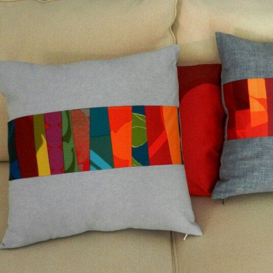 Marimekko Wonky Stripe Pillow Cover, Modern Fiber Art, Rainbow Quilt Teal Background, 18 x 18 inches, vintage fabric pieced