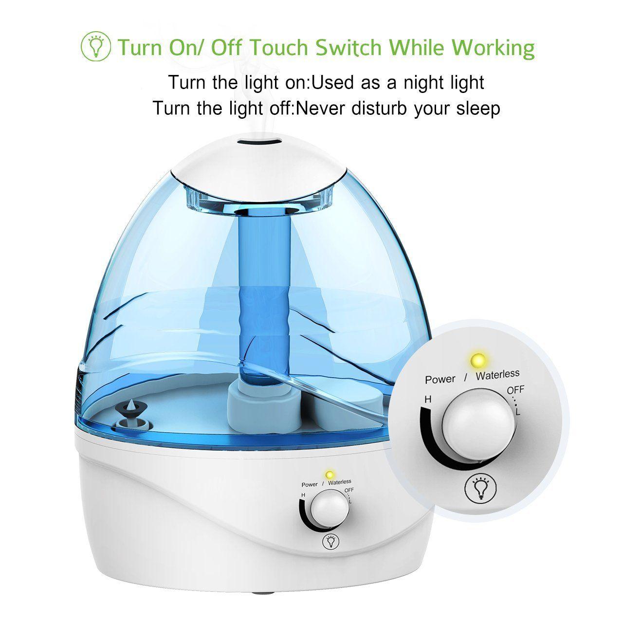 Pictek Cool Mist Humidifier, 2.5L Ultrasonic