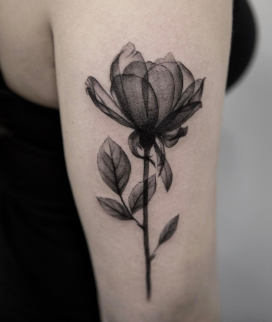 Small Grey Tattoo: Black And Gray Flower Tattoo