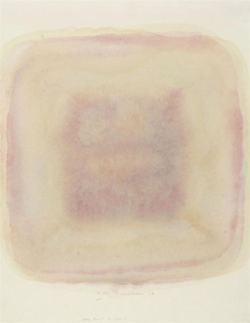 Gotthard Graubner, Untitled, 1964, Oil, diluted, on cardboard 41.5 x 32 cm