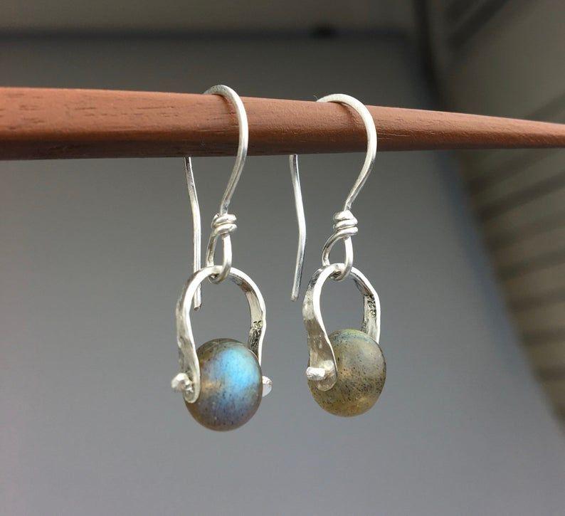 Aurora Borealis Labradorite earrings sterling silver   Etsy