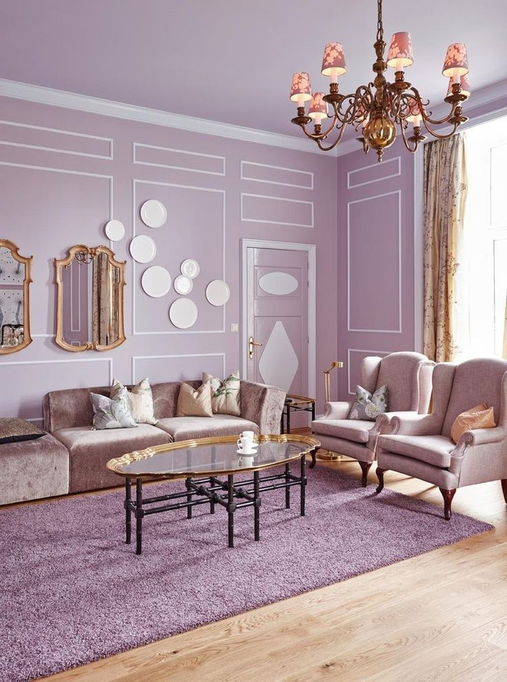 Violet Room Design: Cozy Interior Room Design Ideas With Purple Walls 21