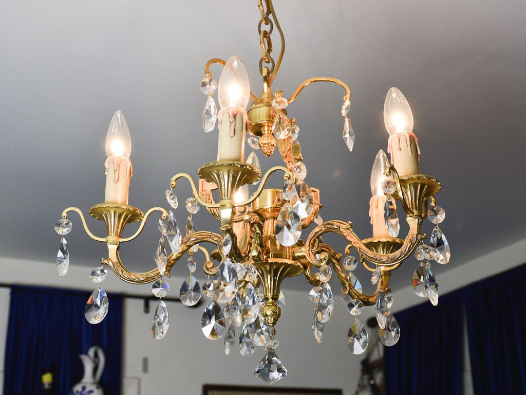 Vintage Bronze French Chandelier With Crystals 5 Arm Louis Xv Style