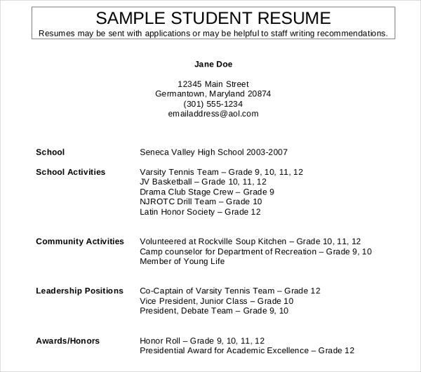 Year 10 Student Resume Best Resume Examples