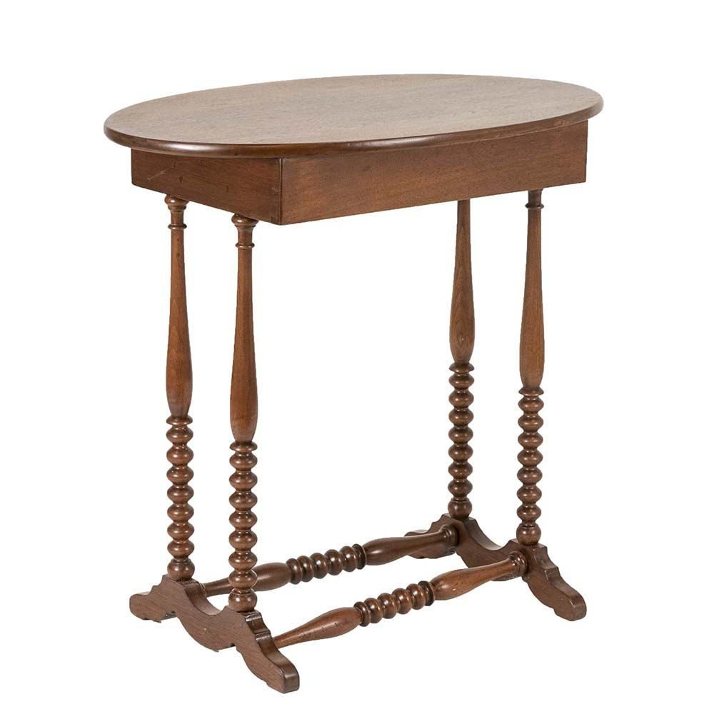 Vintage Side Table Has A Warm Medium Tone Finish An Oval Top With
