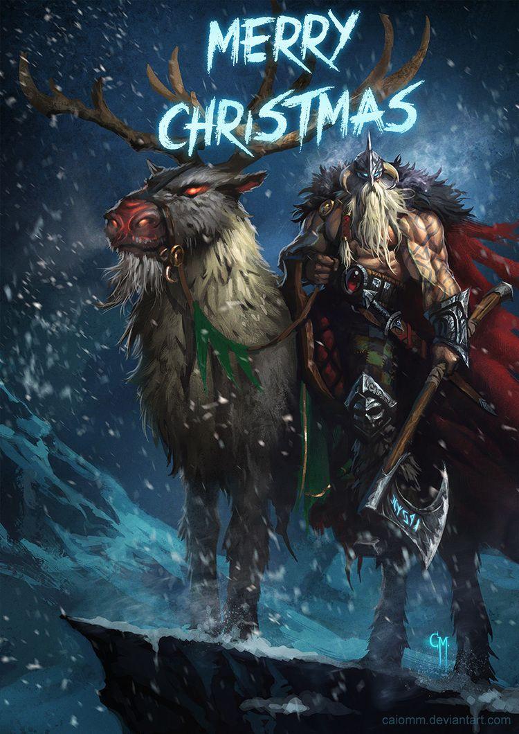 Fantasy Viking Santa Riding Reindeer - Geek Art in 2018 | Sci Fi ...
