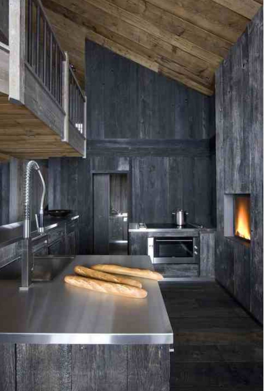 Grey Stained Timber Modern Rustic Chalet Kitchen Kitchen
