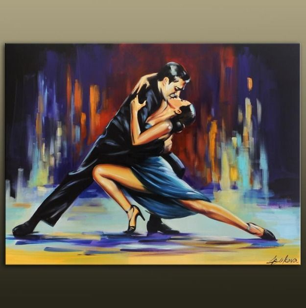 NIGHT TANGO DANCE, couple dancing large original oil painting