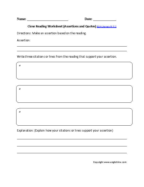 5th Grade Common Core – Reading Summary Worksheet