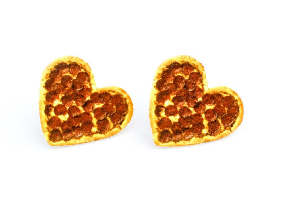 Pizza Heart Stud Earrings   pizza party   Heart jewelry ...