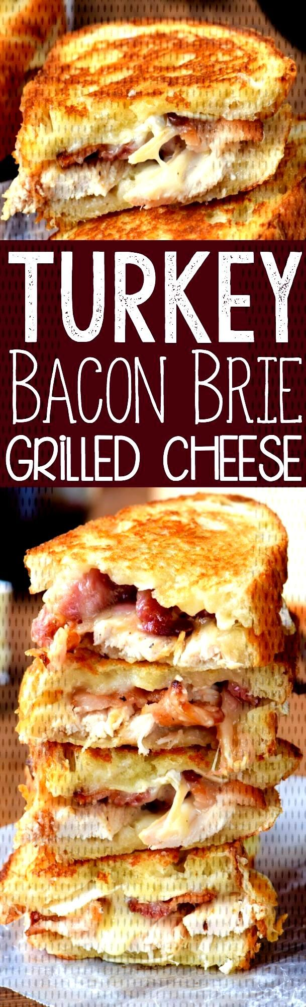 Turkey Bacon Brie Grilled Cheese Sandwich -