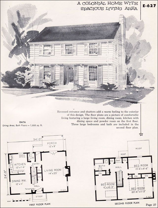 E 627 1955 National Plan Service Homes Of Individuality Craftsman Style House Plans House Plans With Photos Vintage House Plans