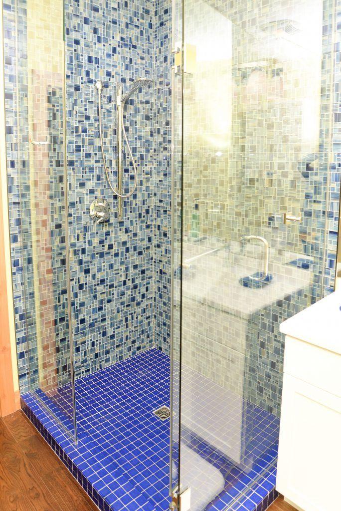 Shower Watercolor Blue Mix Mosaic Floor Tile Oceansie 2x2