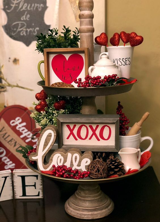 Valentine's Day tiered tray decor #tieredtraydecor
