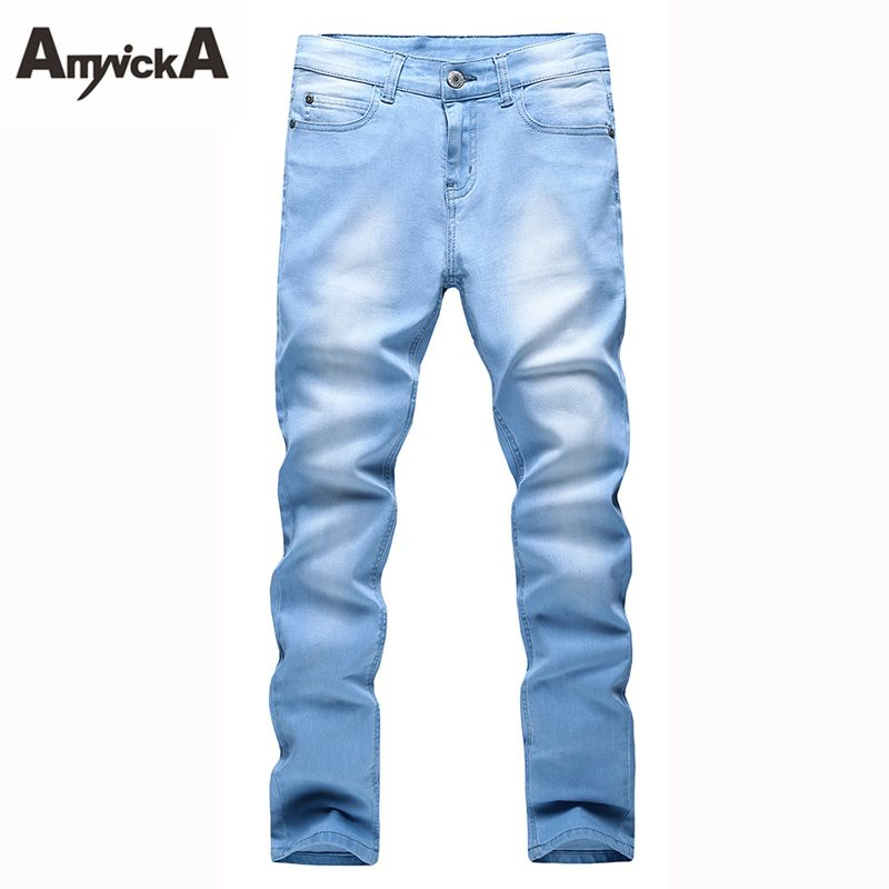 AmynickA New Sky Blue Jeans For Men Mid Waist Solid Straight Denim Jeans  Male Boys Washed b22678b2d59