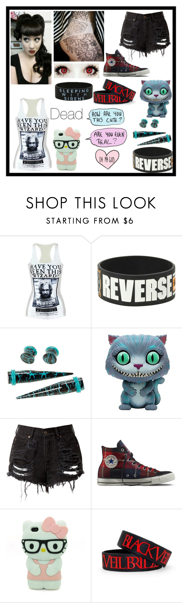 """""""Untitled #2974"""" by frerardforever ❤ liked on Polyvore featuring Disney, Converse and Hello Kitty"""