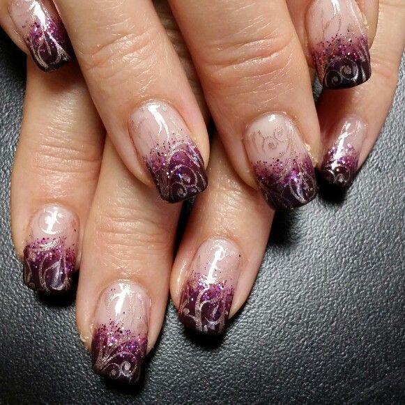 Plum With Champagne Stamping Nails By Jenn Bower York Pa Nail Art Nail Art Galleries Stamping Nail Art