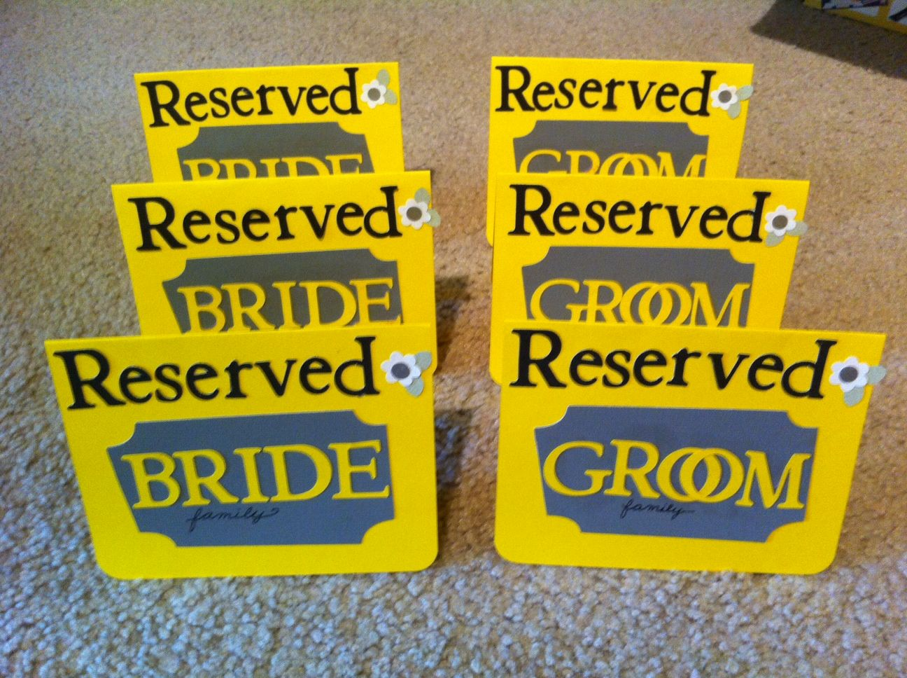 I Used My Cricut To Make These Cute Reserved Signs For Friend S Wedding