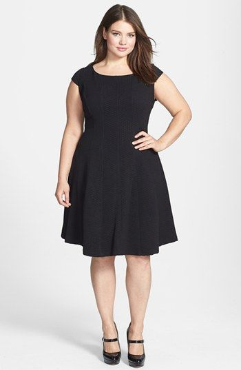 Taylor Dresses Textured Knit Fit & Flare Dress Plus Size available