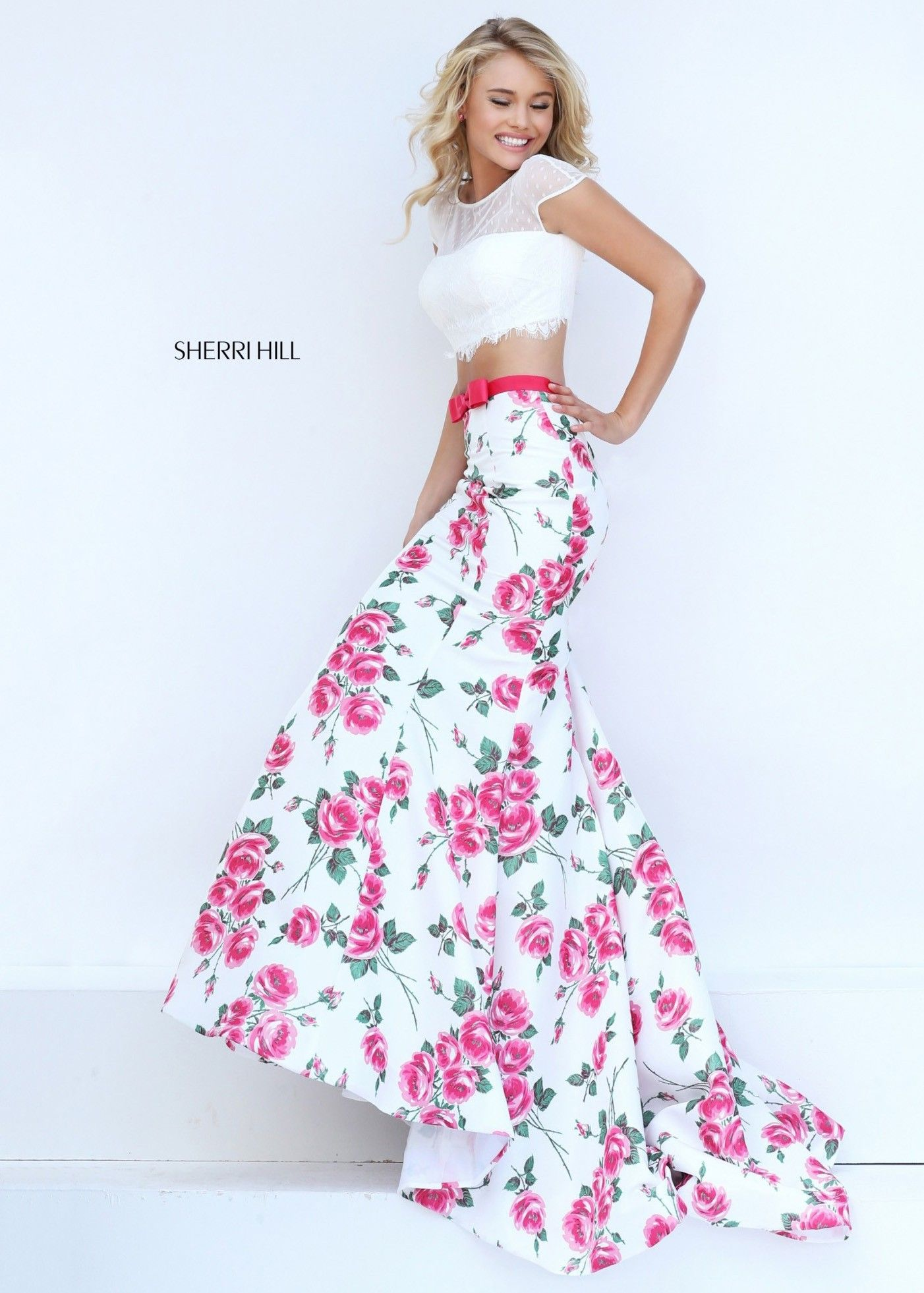 d6d2aa400fb0 Sherri Hill 50421 Colorful Floral Print 2 Piece Mermaid Style Prom Dress  with Scalloped Lace Cropped Top