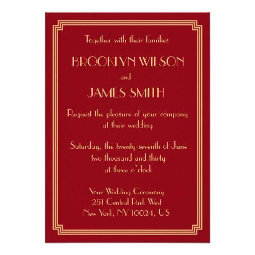 Great Gatsby Art Deco Red Gold Wedding Invites My Favorite Wedding