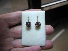 Antique Vintage Bohemian Gold Rose Cut Garnet Button Earrings