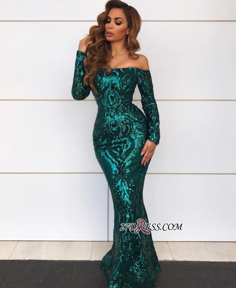 b4aa0a5fdd877 Gorgeous Off-the-Shoulder Long Sleeve Evening Gowns Mermaid Sequin 2019  Prom Dress BC0703 Item Code: IN0108 #Ad #Evening, #Gowns, #Mermaid, #Sleeve