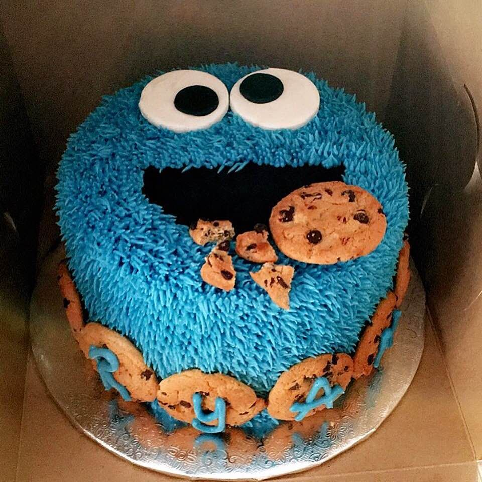 Swell Cookie Monster Cake Cookie Monster Cakes Cookie Birthday Party Funny Birthday Cards Online Elaedamsfinfo