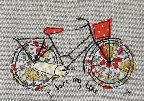 Broderie machine freestyle encadrée – J'aime mon vélo orange et jaune   – sticken