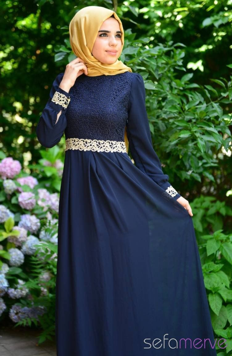Tesettur Elbise Fy 51983 01 Lacivert The Dress Elbise Modelleri Elbise