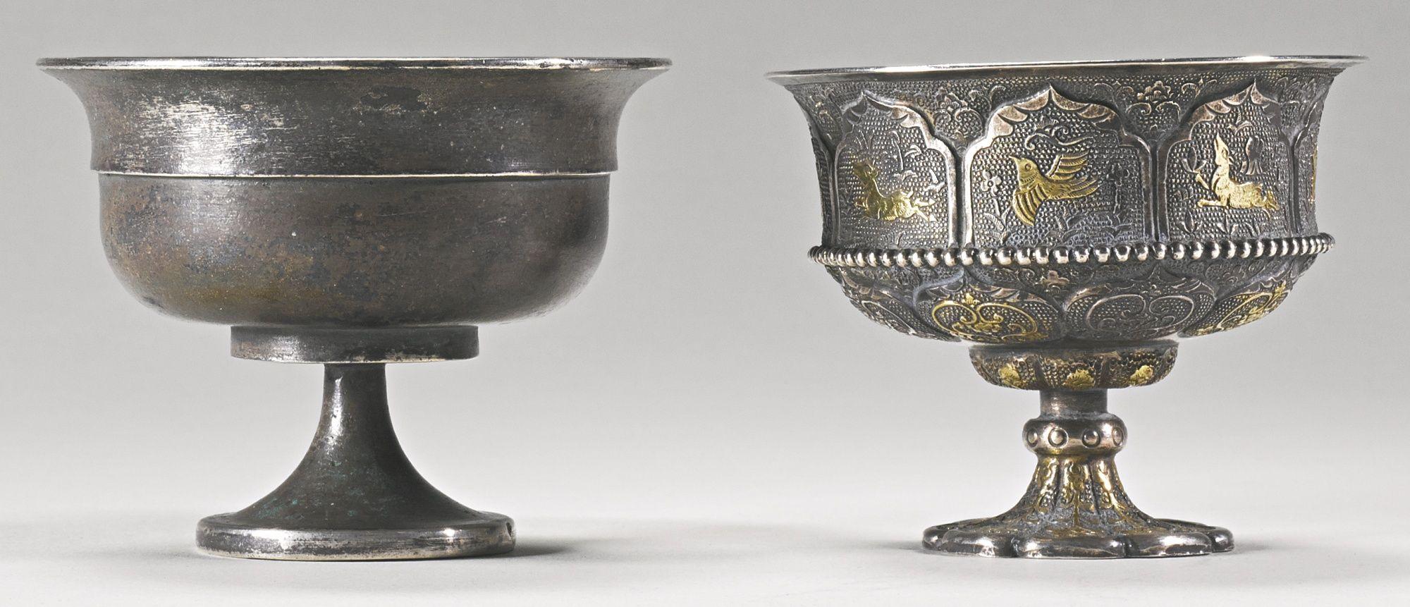 Image result for TWO SILVER STEM CUPS TANG DYNASTY
