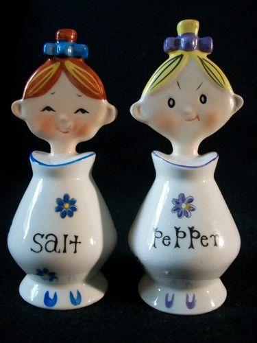 Vintage Japan Holt Howard Jolly Girls Salt Pepper Shaker Retro Kitchen Pixieware | eBay