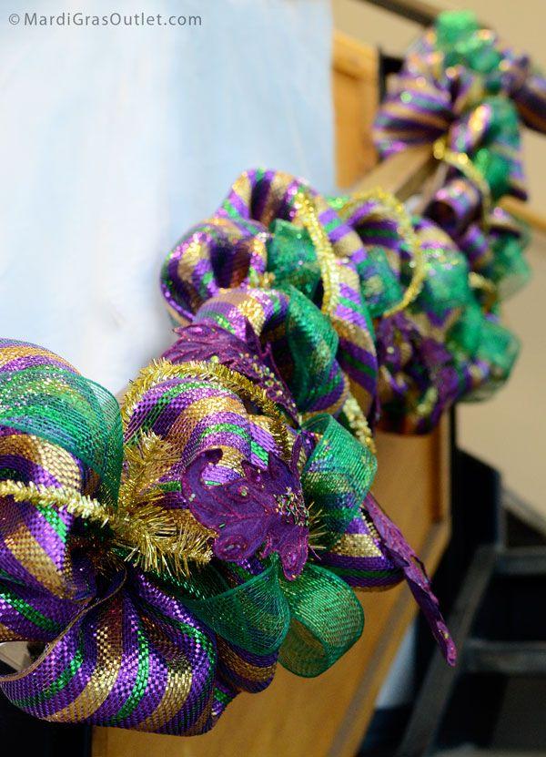 Mardi Gras Garland Tutorial Deco Mesh Work Garland Form Mardi Gras Wreath Mardi Gras Wedding Mardi Gras Decorations