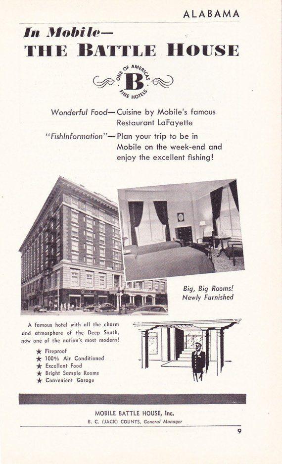 Original 1950s Hotel Advertisement Battle House Mobile Alabama Vintage Antique Retro 50s Era Pop Art Ad For Framing 50 Years Old Alabama Hotel Advertisement Mobile Alabama Pop Art