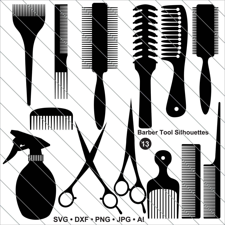 Barber Tool Silhouettes Svg Hair Salon Clipart Barber Tool Etsy Hair Salon Barber Tools Clip Art