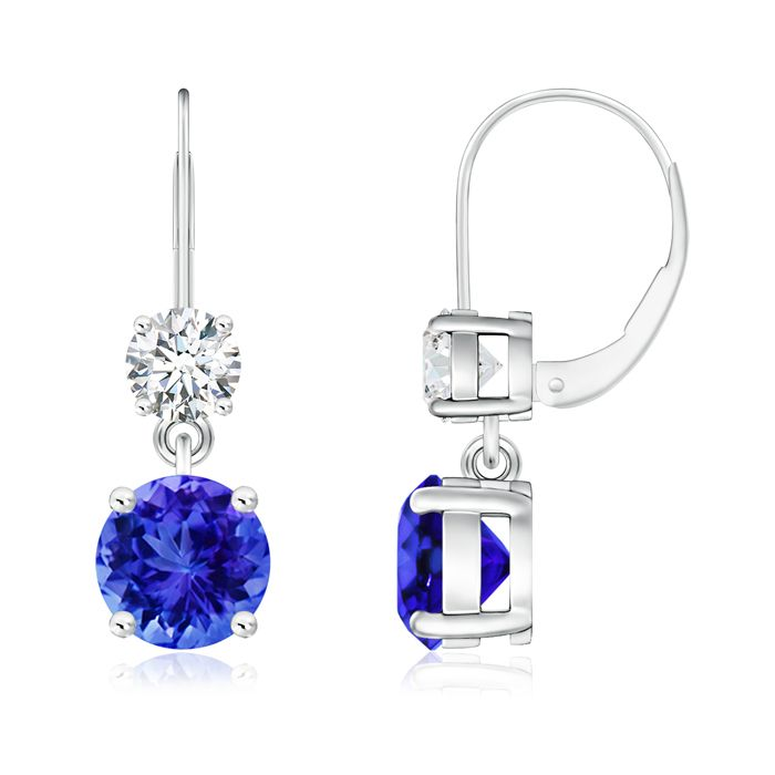 Angara Round Tanzanite Leverback Dangle Earrings with Diamond in White Gold zaecw3c4