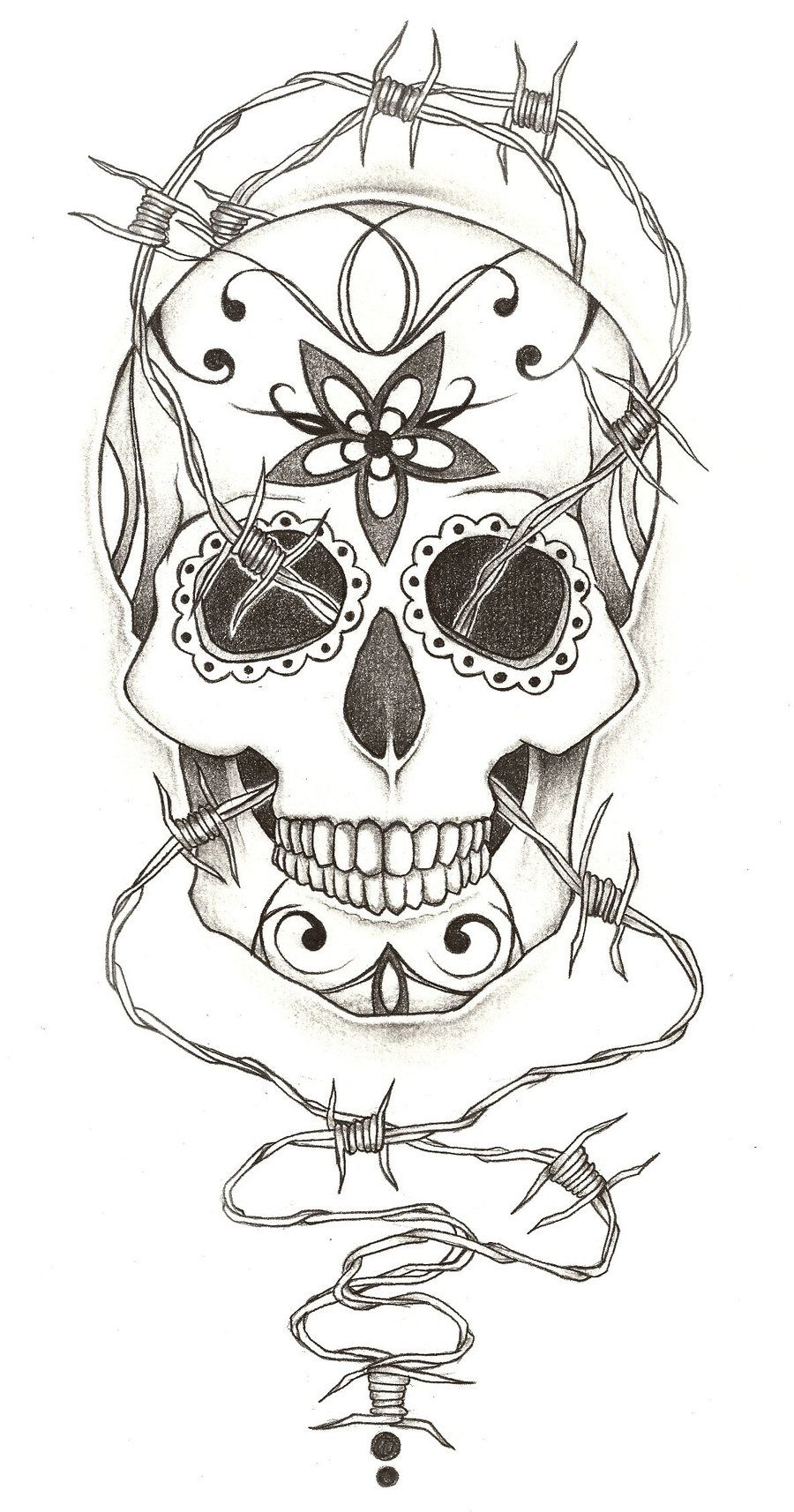 Simple skull tattoo designs - Sugar Skull Tattoo Design By Charlie Megalomad On Deviantart