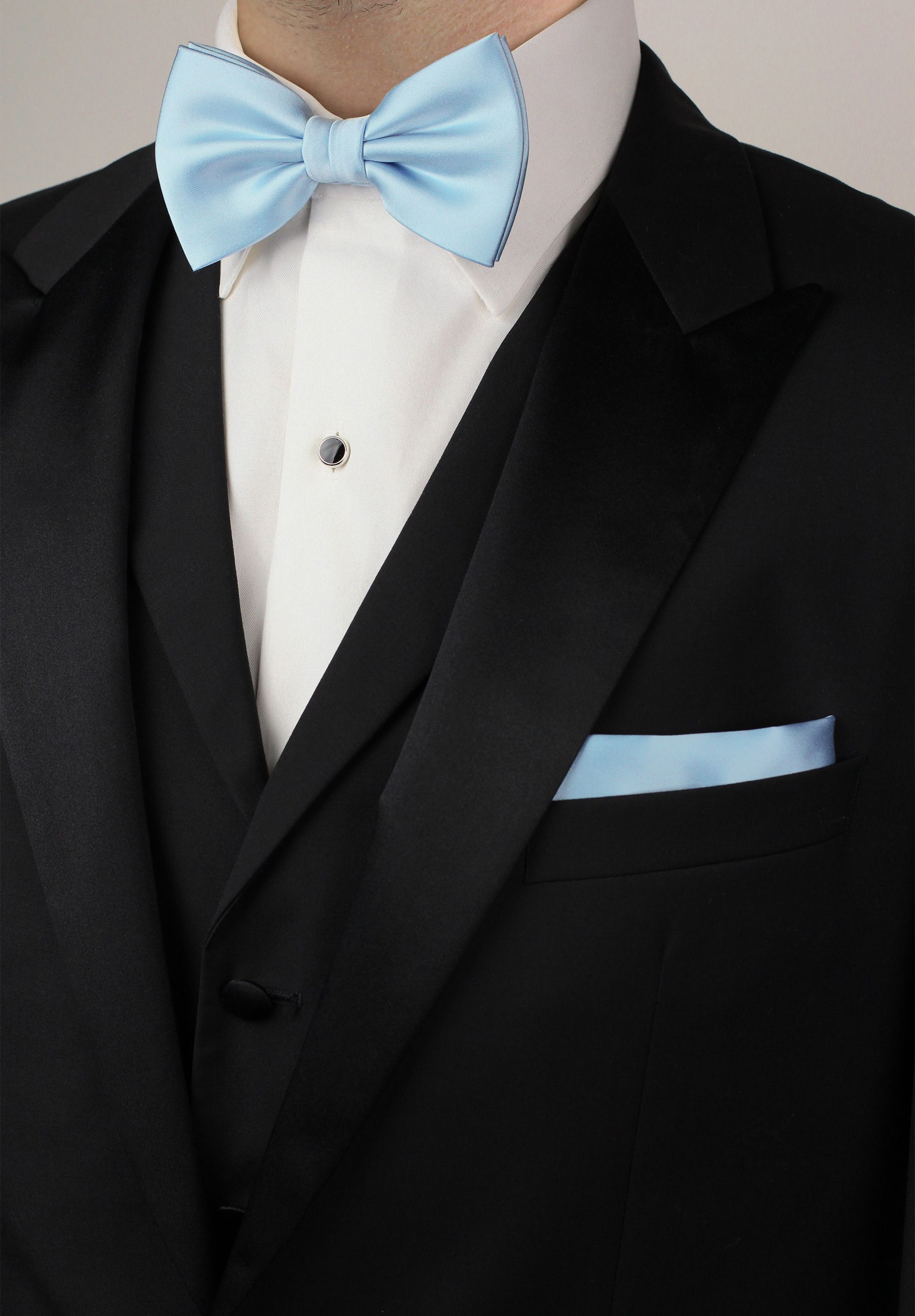 ed2a0dc0ffc2 Mens formal attire with light blue bow tie and pocket square set with black  tuxedo