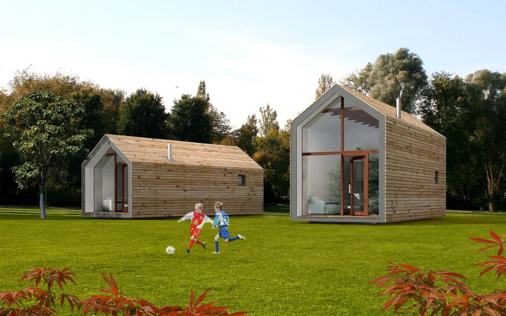 Small (22,40 m2 and 33,25 m2) prefabricated gabled, wood